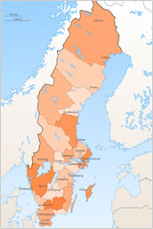 Identifies Southern Swedish and Dalarna areas